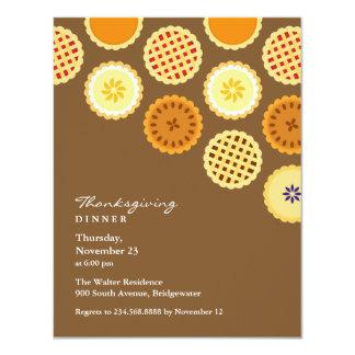 Cena de la acción de gracias e invitación plana de