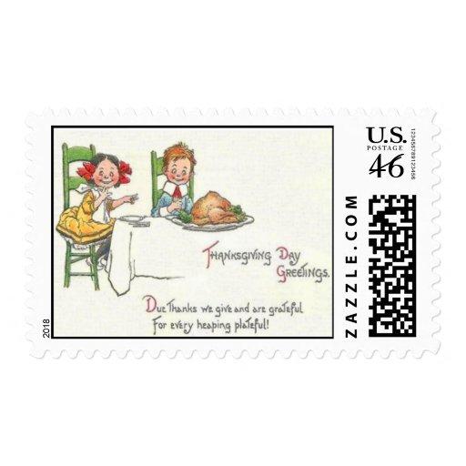 Cena de la acción de gracias sellos