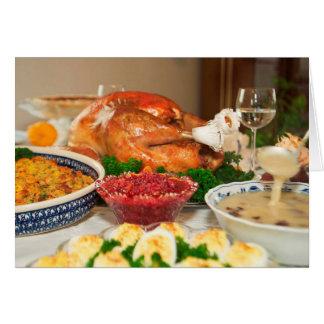 cena de la acción de gracias tarjeta de felicitación