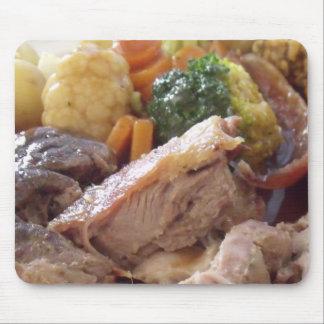 Cena de la carne asada alfombrillas de raton