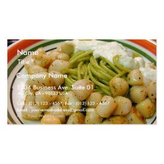 Cena de la comida de las pastas de los mariscos de tarjeta de visita