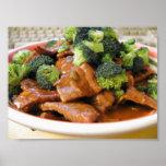 Cena de la comida del bróculi de la carne de vaca  posters