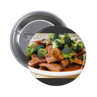 Cena de la comida del bróculi de la carne de vaca  pins