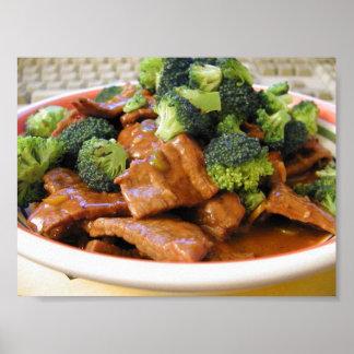 Cena de la comida del bróculi de la carne de vaca  póster