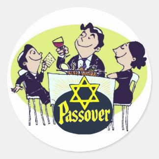 Cena de la familia del Passover Pegatinas Redondas