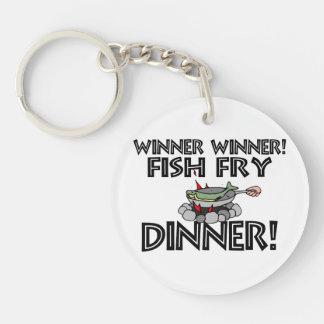 Cena de la fritada de pescado del ganador del gana llavero redondo acrílico a doble cara