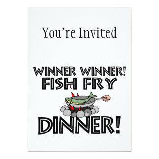 """Cena de la fritada de pescado del ganador del invitación 5"""" x 7"""""""