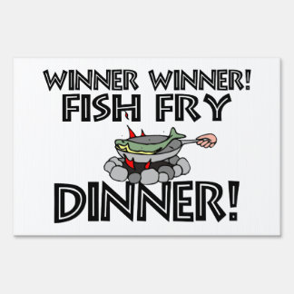 Cena de la fritada de pescado del ganador del letreros
