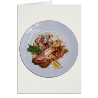 Cena de la langosta tarjeta de felicitación