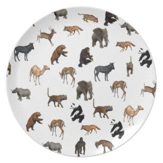Cena de los animales salvajes platos para fiestas