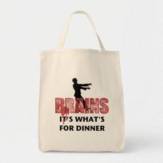 Cena de los cerebros del zombi bolsa tela para la compra