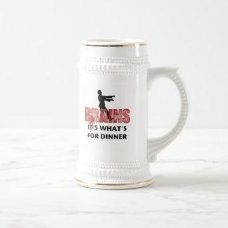 Cena de los cerebros del zombi jarra de cerveza
