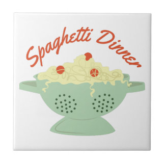Cena de los espaguetis azulejo cuadrado pequeño