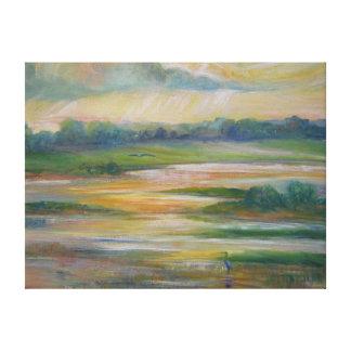 Cena de los humedales del río Missouri para dos Lona Envuelta Para Galerias