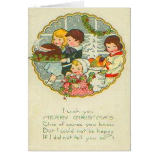 Cena de navidad tarjeta de felicitación