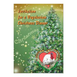"""Cena de navidad vegetariana invitación 5"""" x 7"""""""