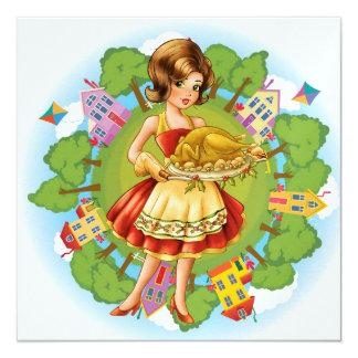 """Cena de Turquía - acción de gracias - navidad - Invitación 5.25"""" X 5.25"""""""