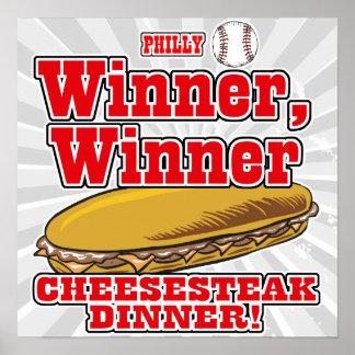 Cena del Cheesesteak del ganador del ganador del b Póster