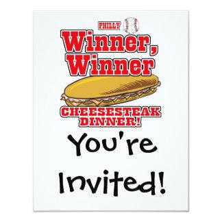 Cena del Cheesesteak del ganador del ganador del Invitación 10,8 X 13,9 Cm