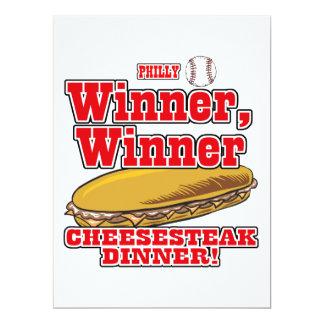 Cena del Cheesesteak del ganador del ganador del Invitación 16,5 X 22,2 Cm