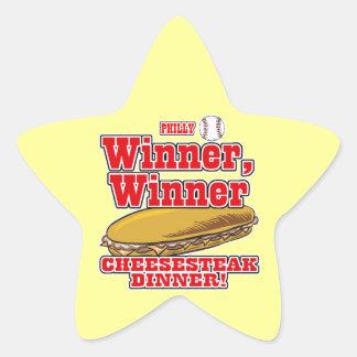 Cena del Cheesesteak del ganador del ganador del Pegatina En Forma De Estrella