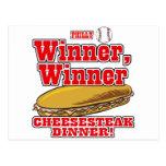 Cena del Cheesesteak del ganador del ganador del Tarjetas Postales