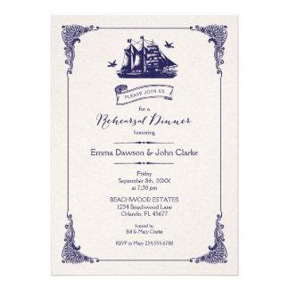Cena del ensayo de la nave del vintage de la marin invitacion personalizada