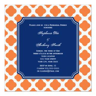 Cena del ensayo de Quatrefoil del azul anaranjado Invitación 13,3 Cm X 13,3cm