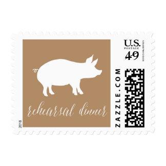 Cena del ensayo del Bbq con el cerdo Estampilla