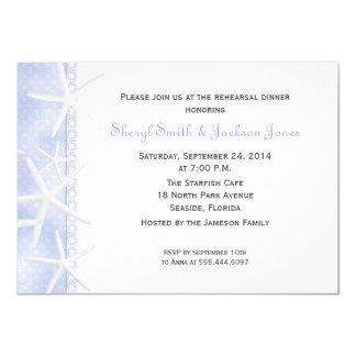 """Cena del ensayo del boda de las estrellas de mar invitación 4.5"""" x 6.25"""""""
