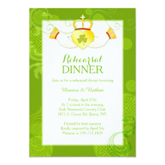 """Cena del ensayo del boda del anillo de Claddagh Invitación 5"""" X 7"""""""
