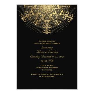 """Cena del ensayo del boda del negro del copo de invitación 5"""" x 7"""""""