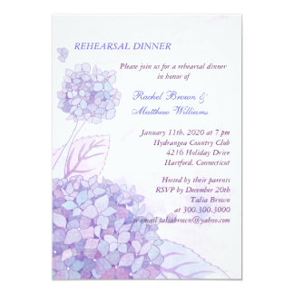 """Cena del ensayo del boda del ramo del Hydrangea Invitación 5"""" X 7"""""""