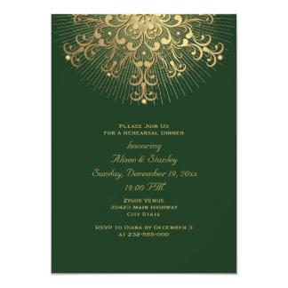 """Cena del ensayo del boda del verde del copo de invitación 5"""" x 7"""""""