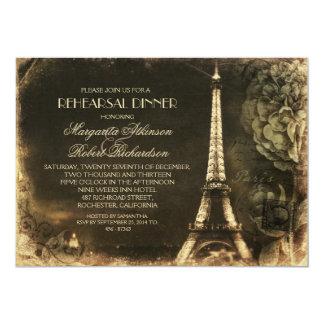 """Cena del ensayo del vintage de la torre Eiffel de Invitación 5"""" X 7"""""""