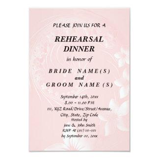 """Cena del ensayo - flores abstractas rosas claras invitación 3.5"""" x 5"""""""