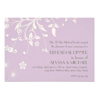 Cena del ensayo - Flourish floral moderno del remo Invitación Personalizada