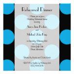 Cena del ensayo - lunares, puntos - negro azul invitacion personalizada