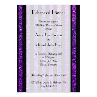 """Cena del ensayo - rayas, brillo - negro púrpura invitación 5"""" x 7"""""""