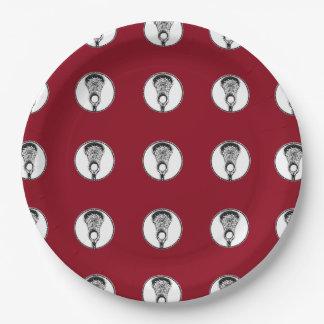 cena del equipo del lacrosse plato de papel de 9 pulgadas