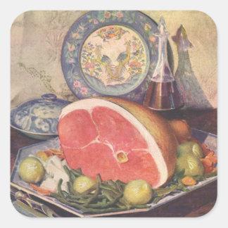 Cena del jamón del vintage con las habas verdes y pegatina cuadrada