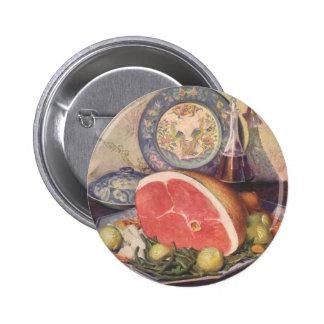 Cena del jamón del vintage con las habas verdes y pin redondo de 2 pulgadas