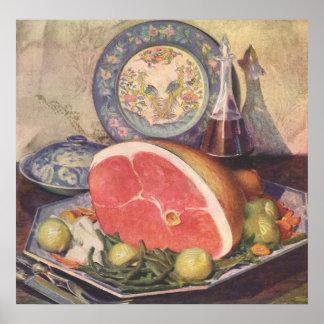 Cena del jamón del vintage con las habas verdes y póster
