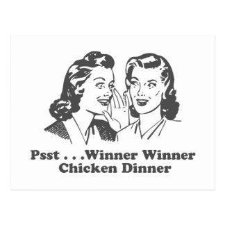 Cena del pollo del ganador del ganador divertida postal