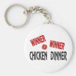Cena del pollo del ganador del ganador llaveros