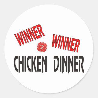 Cena del pollo del ganador del ganador pegatina redonda