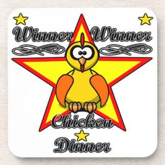 Cena del pollo del ganador del ganador posavasos de bebidas