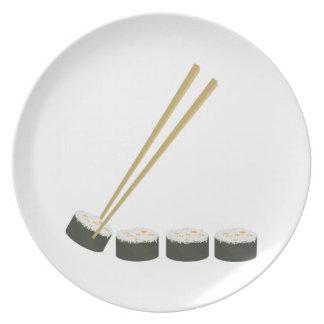 Cena del sushi platos de comidas