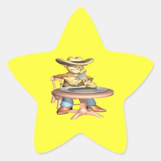 Cena del vaquero pegatina en forma de estrella