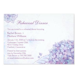 """Cena elegante del ensayo del boda del Hydrangea Invitación 5"""" X 7"""""""